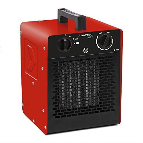 TROTEC Keramik Heizlüfter Elektroheizer TDS 20 C inkl. Mehrstufen-Temperaturregelung bis 3.000 Watt (3 kW) Bauheizer mit Thermostat